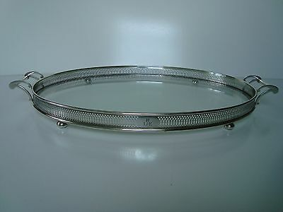 Vintage Sterling Silver Filigree And Glass Oval Serving Drinks Handled Tray 21''
