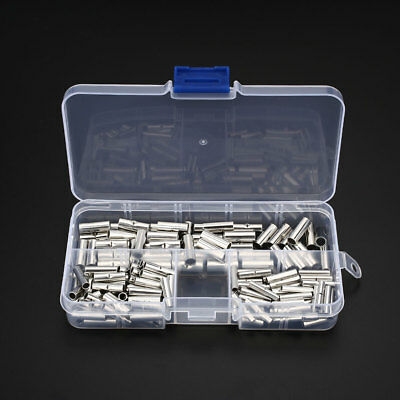150Pcs Ferrule Wire Cable Crimp Rolled Terminals Butt Connector Kit Silver