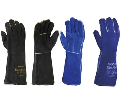Maxisafe Black Blue Welders Gauntlet Gloves Fabrication Foundry Safety 2 Pairs