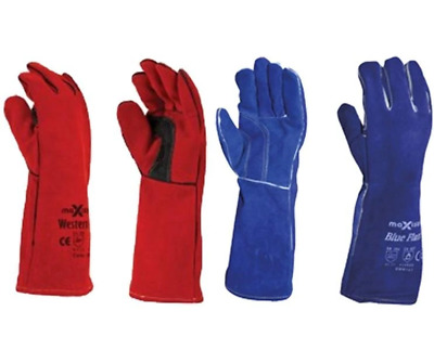 Maxisafe Red Blue Welders Gauntlet Gloves Fabrication Foundry Safety 2 Pairs