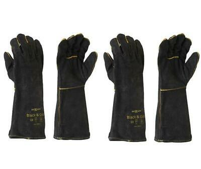 Maxisafe Black & Gold Welders Gauntlet Gloves Fabrication Foundry Safety 2 Pairs