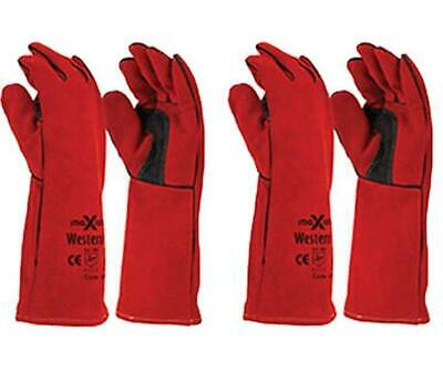 Maxisafe Red Welders Gauntlet Gloves Fabrication Foundry Safety Pizza 2 Pairs