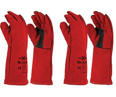 Maxisafe Red Welding Gauntlet Gloves Fabrication Foundry Safety Pizza 2 Pairs
