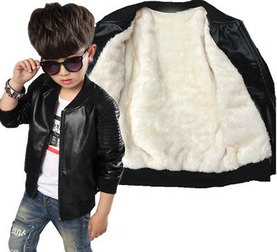 New  Kids Boys winter Round Neck Leather Jacket Fleece warm Coat  Outerwear Cool