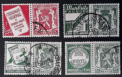 1930s Belgium lot of 4 Coat of Arms stamps w advertising tabs Used