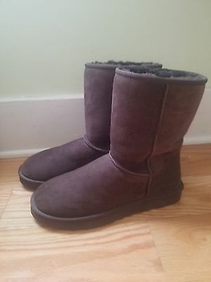 New Ugg Brown Suede Classic Shearling Boots Men's Size 12