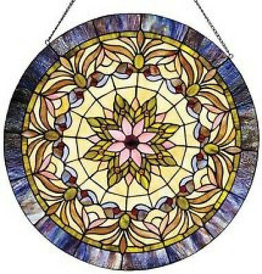"Round 22"" Tiffany Style Stained Glass Window Panel"