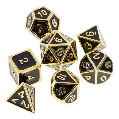 7x Zinc Alloy Multi Sided Dice for D&D RPG MTG Party Board Card Game DIY