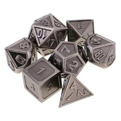 Set of 7 Zinc Alloy Multi Sided Dice for D&D RPG MTG Party Table Card Game