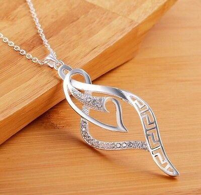 """Women's Fashion Jewelry 925 Silver Plated 18"""" Chain Pendant Necklace 15-1"""