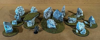Wargame Warhammer 40K Terrain Set of 11 Realistic Rock Scenery. NEW painted