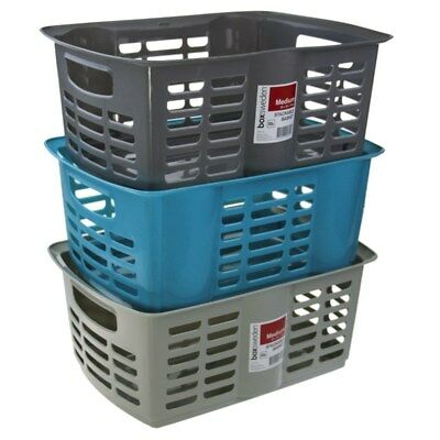 4x Stackable Baskets Multi Use Small White Container Storage Kitchen Laundry