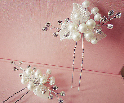 New White Pearl Rhinestone Bridal Hair Accessories Hair Pin Stick for Wedding