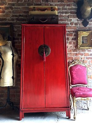 Stunning Antique Style Chinese Wardrobe Armoire Red Lacquered Oriental Shan Xi