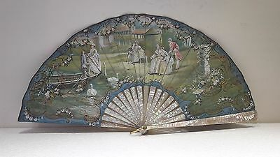 Antique hand fan FRENCH CARVED MOTHER OF PEARL HAND PAINTED Signed 19th century
