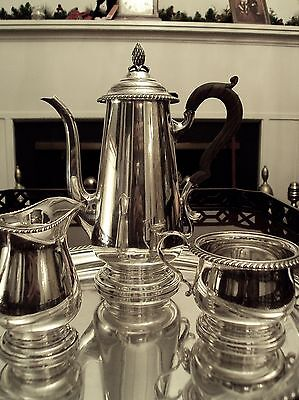 Black Starr & Gorham Colonial American 18thC Repro Sterling Silver 4 Pc Tea Set