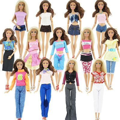 10Pcs/5 Sets Random Skirt/Shirt/Jacket/Trousers Clothes For Barbie Doll Gift