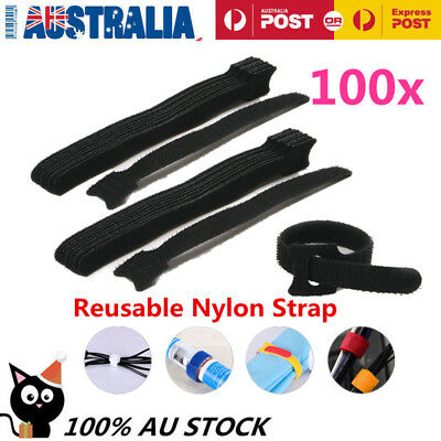 100x Reusable Nylon Strap Hook and Loop Cable Cord Ties Tidy Organiser AU Stock