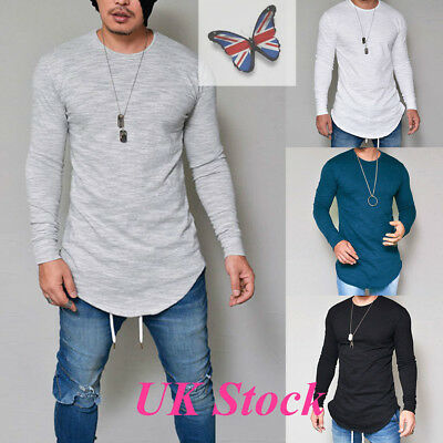 UK Mens Slim Fit Crew Neck Long Sleeve Muscle Tee T-shirts Casual Tops Blouse