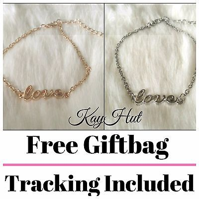 Ladies Anklet with Cursive Love Chain Pendant in Silver or Gold Present Gift