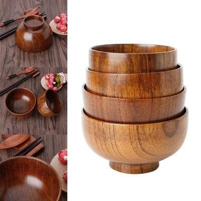 Natual Wood Round Salad Bowl Kitchen Bamboo Handmade Children Fruit Rice Bowl