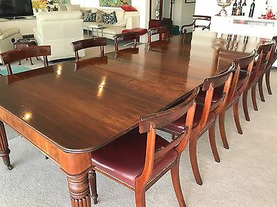 Victorian Mahogany Extension Dining Table on Turned Legs w 12 matching chairs