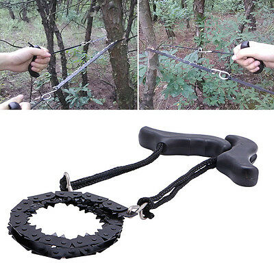 Camping Hiking Emergency Survival Hand Tool Gear Pocket Chain Saw ChainSaw Black