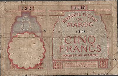 Morocco 5 Francs  1.8.1922 P 23Aa Series A. 118 Circulated Banknote