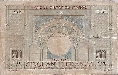 Morocco 50 Francs  5.5.1938 P 21 Series T. 437 Circulated Banknote