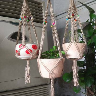 Handcrafted Braided Rope Macrame Hanging Basket Flowers Pot Holder Plants Hanger