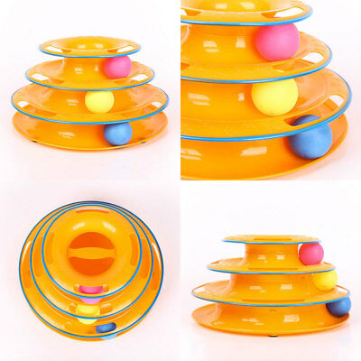 Pet Cat Teaser Ball Track Disk Amusement Tower Trilaminar Turntable Toy