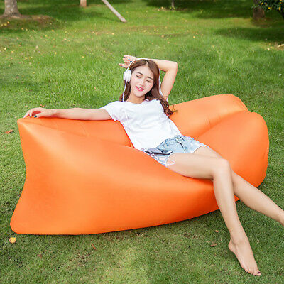 Outdoor Inflatable Lounger Chair, Portable Sofa,Air Sleeping Bag --Orange