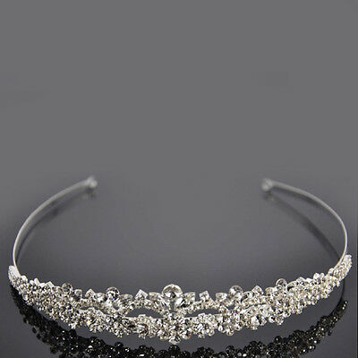 USA Women Wedding Bride Bridemaid Crystal Bridal Tiara Crown Headband Hairband Z