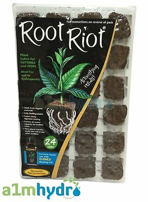 Growth Technology Root Riot 24 Propagation Plant Starter Cubes Tray Hydroponics