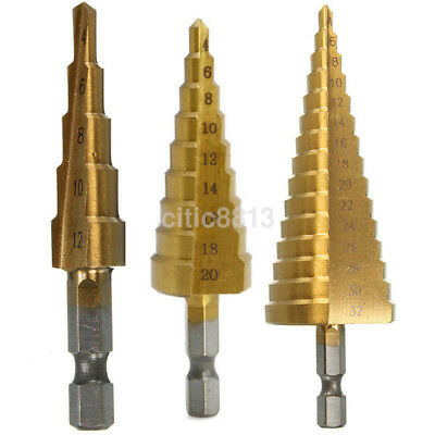 Step Cone Drill Bit High Speed Steel Hole Cutter 4-12/4-20/4-32mm HSS Tools AU