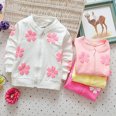 1PC Kids Girl Clothes Baby Girls Clothing Children Cotton Coats Zipper Cardigan