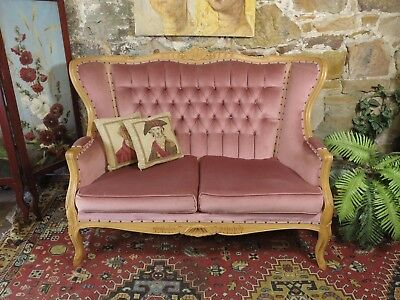 Vintage French Louis Wingback Chesterfield 2 Seat Lounge Chair-Sofa-Soft Pink