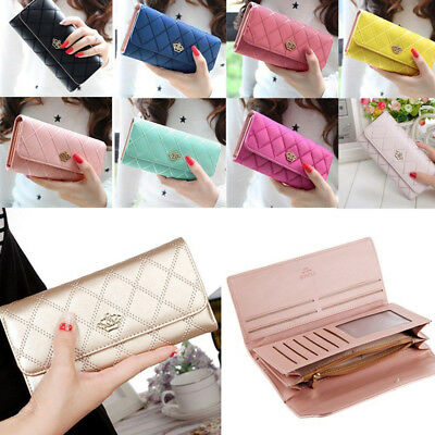 Women Lady Zipper Faux Leather Clutch Phone Bag Long Purse Wallet Card Holder US