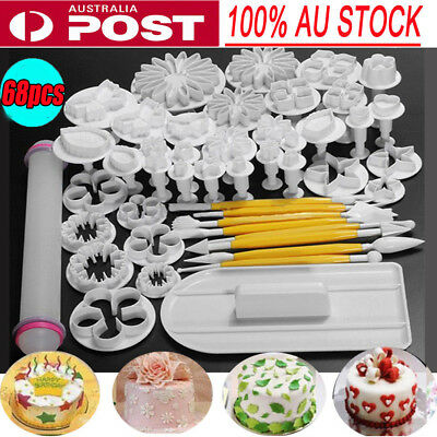 46pcs Fondant Cake Decorating Kit Cookie Mould Icing Plunger Cutter Tool Set -AU