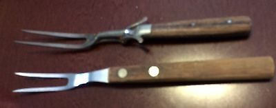 2 Vintage Meat Serving Forks 1 Craftsmen 1 1963 With Meat Slider Patented July.