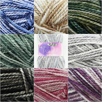 King Cole Big Value Tonal Chunky Soft Acrylic Knitting Crochet Yarn Wool 100g