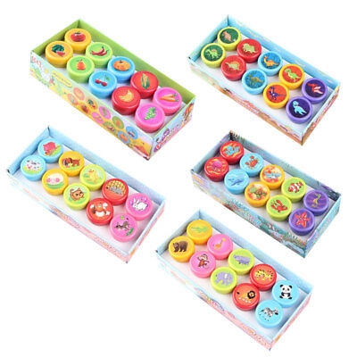 ADE0 10Pcs//Set Stamps Kids Toys Animals Fruit Educated Recognition Training