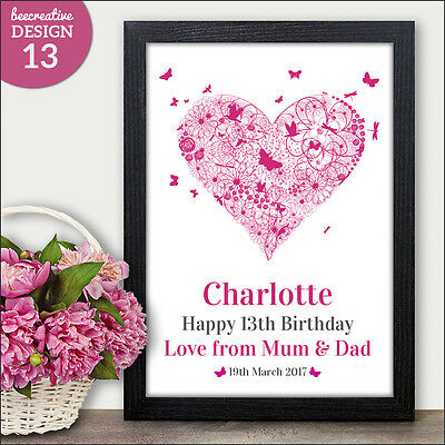 Personalised HEART Birthday Gift For Daughter - Keepsake Print Present