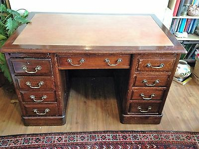 Mahogany Writing Desk Twin Pedestal, Beautiful Antique