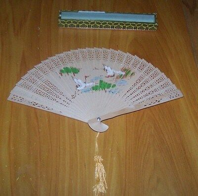 Beautiful! Oriental Hand Crafted wood Painted Fan