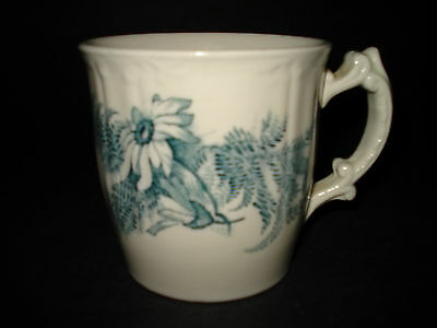 Antique Teal Transferware DAISY Pattern COFFEE MUG TEA CUP Scroll Handle ENGLAND