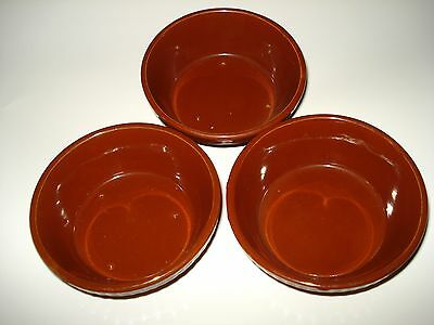 """3 Antique PYRITA ENGLAND Earthenware 4.5 x 2"""" CLAY BOWLS DISHES Flame Oven Proof"""