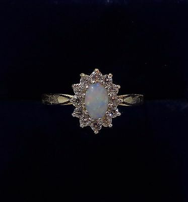 Opal and Cubic Zirconia Cluster Ring in 9ct Yellow Gold - Size P 1/2