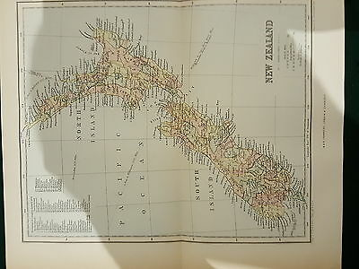 "Rare Vintage Antique  New Zealand Map Circa 1876 ? 10"" X 8.5"" Inch W&r Chambers"