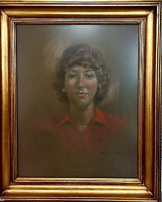 20th CENTURY ORIGINAL VINTAGE PASTEL PORTRAIT PAINTING, SIGNED BY LISTED ARTIST